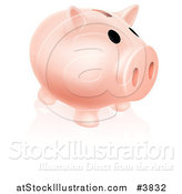 Vector Illustration of a Pale Pink Piggy Bank and Reflection on White by AtStockIllustration