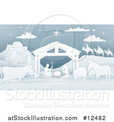Vector Illustration of a Paper Art Styled Nativity Scene by AtStockIllustration