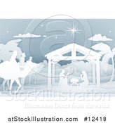 Vector Illustration of a Paper Art Styled Nativity Scene with the Wise Men and Manger by AtStockIllustration