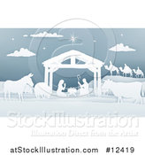 Vector Illustration of a Paper Art Styled Nativity Scene with the Wise Men, Animals and Manger by AtStockIllustration