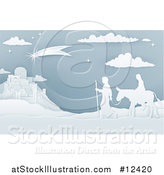 Vector Illustration of a Paper Art Styled Silhouetted Scene of Mary and Joseph on Their Jouney by AtStockIllustration