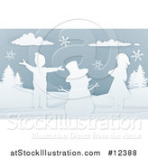 Vector Illustration of a Paper Art Styled Snowman and Children in the Snow by AtStockIllustration