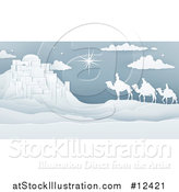 Vector Illustration of a Paper Art Styled Star of David over the Wise Men and Bethlehem by AtStockIllustration