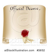 Vector Illustration of a Paper Official Decree Scroll with a Red Wax Seal and Copyspace by AtStockIllustration