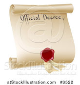 Vector Illustration of a Paper Scroll Official Decree and Red Wax Seal by AtStockIllustration
