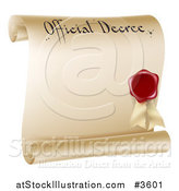 Vector Illustration of a Paper Scroll Official Decree and Red Wax Seal with Copyspace by AtStockIllustration