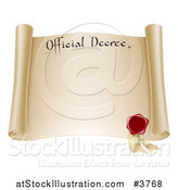 Vector Illustration of a Paper Scroll Official Decree with a Red Wax Seal and Copyspace by AtStockIllustration