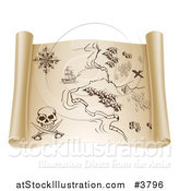 Vector Illustration of a Parchment Pirate Map with Secret Treasure Directions by AtStockIllustration