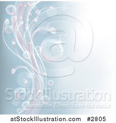 Vector Illustration of a Pastel Blue Background with Air Bubbles and Waves by AtStockIllustration
