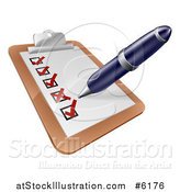 Vector Illustration of a Pen Checking off a List on a Clipboard by AtStockIllustration