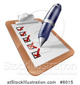 Vector Illustration of a Pen Checking off Items on a Clipboard by AtStockIllustration