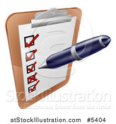 Vector Illustration of a Pen Checking on Items on a Clipboard by AtStockIllustration