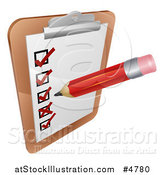 Vector Illustration of a Pencil Filling out a Survey on a Clipboard by AtStockIllustration