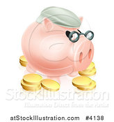 Vector Illustration of a Pension Piggy Bank with Glasses a Green Hat and Gold Coins by AtStockIllustration