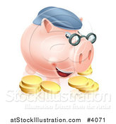 Vector Illustration of a Pension Piggy Bank with Glasses a Hat and Gold Coins by AtStockIllustration