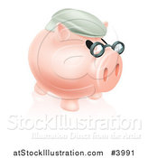 Vector Illustration of a Pension Piggy Bank with Glasses and a Hat 2 by AtStockIllustration