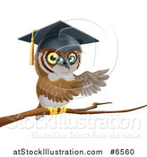 Vector Illustration of a Perched Professor Owl Presenting with His Wings from a Tree Branch by AtStockIllustration
