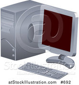 Vector Illustration of a Personal Desktop Computer with a Flat Screen by AtStockIllustration