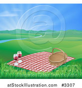 Vector Illustration of a Picnic Blanket and Basket with Red Wine in a Hilly Spring Landscape with a River and Sunshine by AtStockIllustration