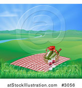 Vector Illustration of a Picnic Blanket and Basket with Wine in a Hilly Spring Landscape with a River and Sunshine by AtStockIllustration