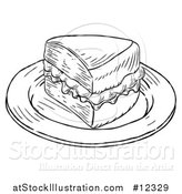 Vector Illustration of a Piece of Victoria Sponge Cake, Black and White Engraved Style by AtStockIllustration