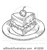 Vector Illustration of a Piece of Victoria Sponge Cake in Black and White Engraved Style by AtStockIllustration
