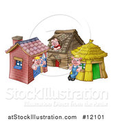 Vector Illustration of a Piggies from the Three Little Pigs Fairy Tale, at Their Brick, Wood and Straw Houses by AtStockIllustration