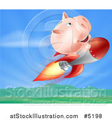 Vector Illustration of a Piggy Bank Riding a Rocket over a Valley by AtStockIllustration