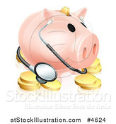 Vector Illustration of a Piggy Bank with a Stethoscope and Gold Coins by AtStockIllustration