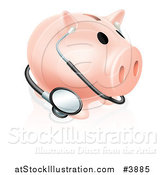 Vector Illustration of a Piggy Bank with a Stethoscope by AtStockIllustration