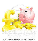 Vector Illustration of a Piggy Bank with Gold Coins and a Pound Sterling Symbol by AtStockIllustration