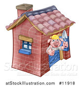 Vector Illustration of a Piggy from the Three Little Pigs Fairy Tale, Giving a Thumb up in His Brick House by AtStockIllustration
