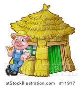 Vector Illustration of a Piggy from the Three Little Pigs Fairy Tale, Leaning Against His Straw House by AtStockIllustration