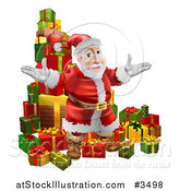Vector Illustration of a Pile of Presents with Santa by AtStockIllustration