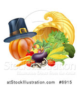 Vector Illustration of a Pilgrim Hat on a Pumpkin by a Thanksgiving Horn of Plenty Cornucopia and Vegetables by AtStockIllustration