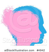 Vector Illustration of a Pink and Blue Male and Female Face Silhouettes by AtStockIllustration