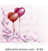 Vector Illustration of a Pink Background with Ribbons and Heart Shaped Balloons by AtStockIllustration