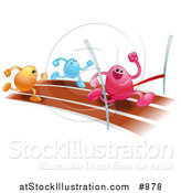 Vector Illustration of a Pink Bean Character Racing on a Track and Crossing the Finish Line Before Orange and Blue Runners, Symbolizing Achievement by AtStockIllustration