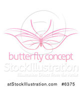 Vector Illustration of a Pink Butterfly with Wide Wings over Sample Text by AtStockIllustration