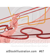 Vector Illustration of a Pink Demon, Lines and a Red Snake by AtStockIllustration