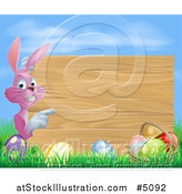 Vector Illustration of a Pink Easter Bunny over Eggs, Pointing Around a Wood Sign by AtStockIllustration