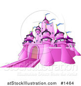 Vector Illustration of a Pink Fairy Tale Castle with Blue Flags Waving from the Towers, over White by AtStockIllustration