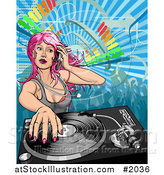 Vector Illustration of a Pink Haired Female Dj Mixing a Record by AtStockIllustration