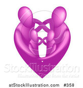 Vector Illustration of a Pink Heart Family by AtStockIllustration