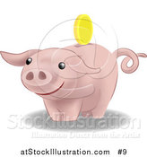 Vector Illustration of a Pink Pig Bank by AtStockIllustration