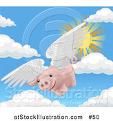 Vector Illustration of a Pink Pig Flying Through the Sky on a Sunny Day, when Pigs Fly by AtStockIllustration