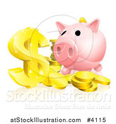 Vector Illustration of a Pink Piggy Bank and Abundance of Gold Coins and Dollar Symbol by AtStockIllustration