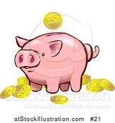 Vector Illustration of a Pink Piggy Bank with Golden Coins by AtStockIllustration