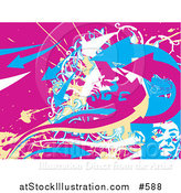Vector Illustration of a Pink, White Blue and Yellow Abstract Background by AtStockIllustration