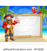 Vector Illustration of a Pirate Captain Holding a Scroll, with a Parrot by a Blank Sign on a Tropical Beach by AtStockIllustration